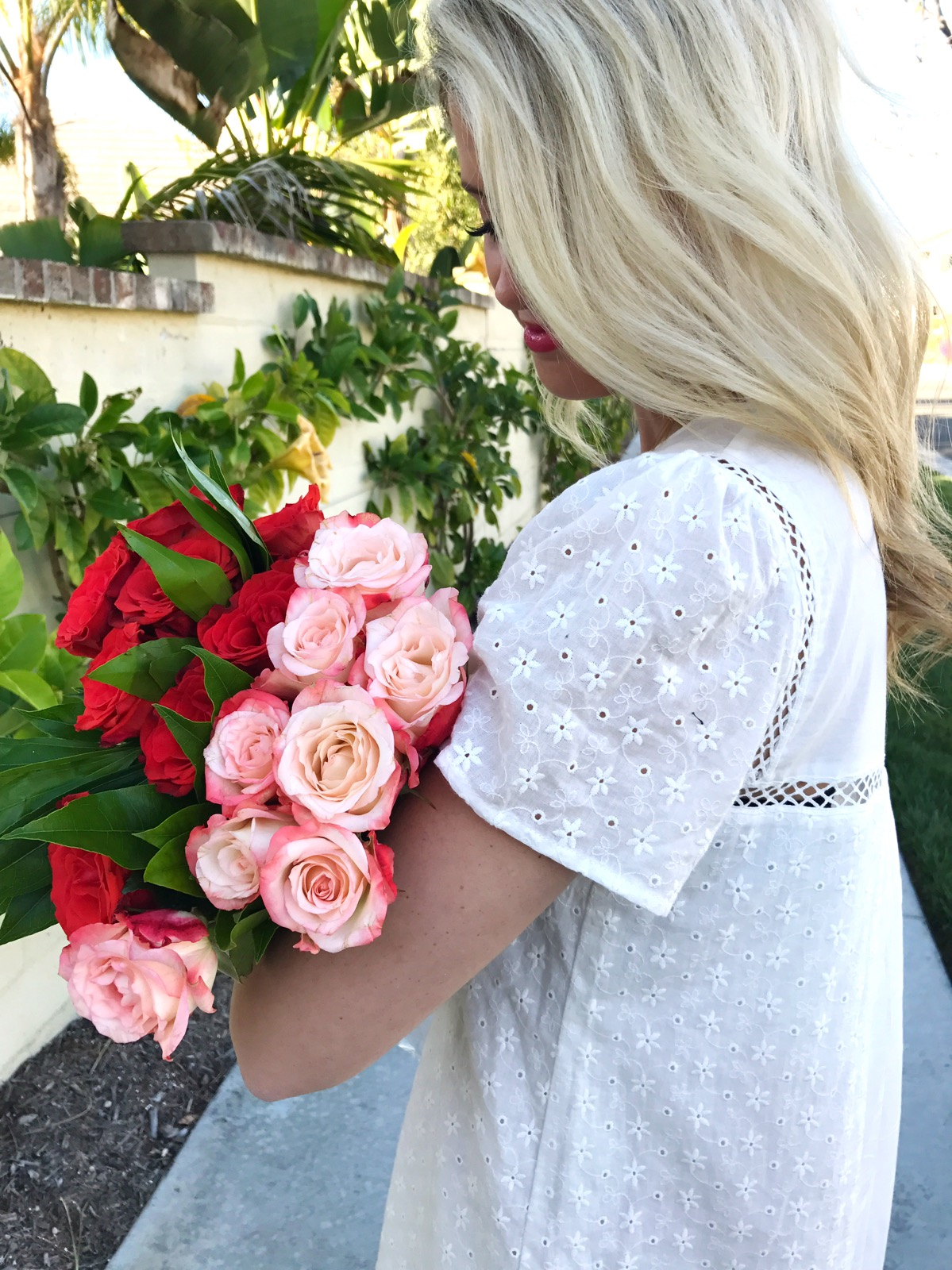 White Eyelet Dress & Spring Flowers