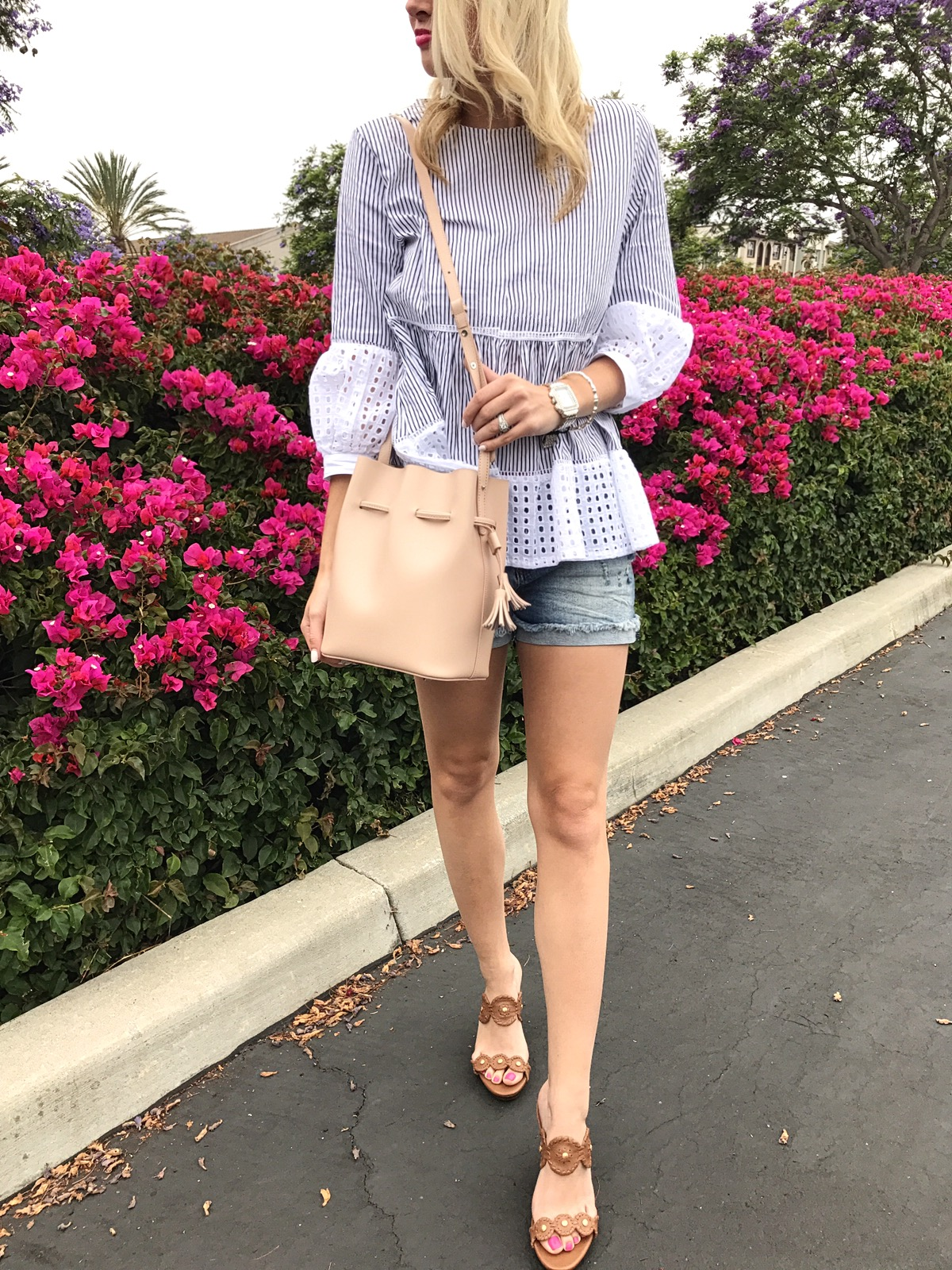 Casual Blue & White Eyelet Top