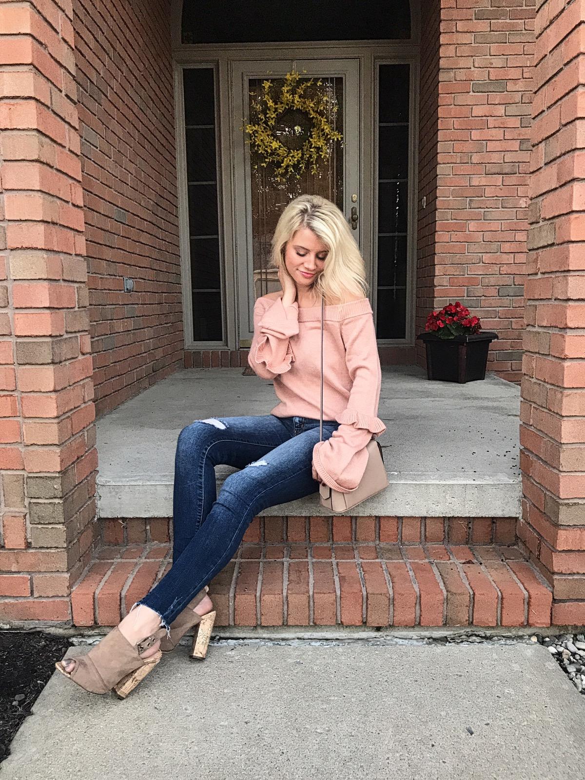 Light Pink Bell Sleeve Sweater