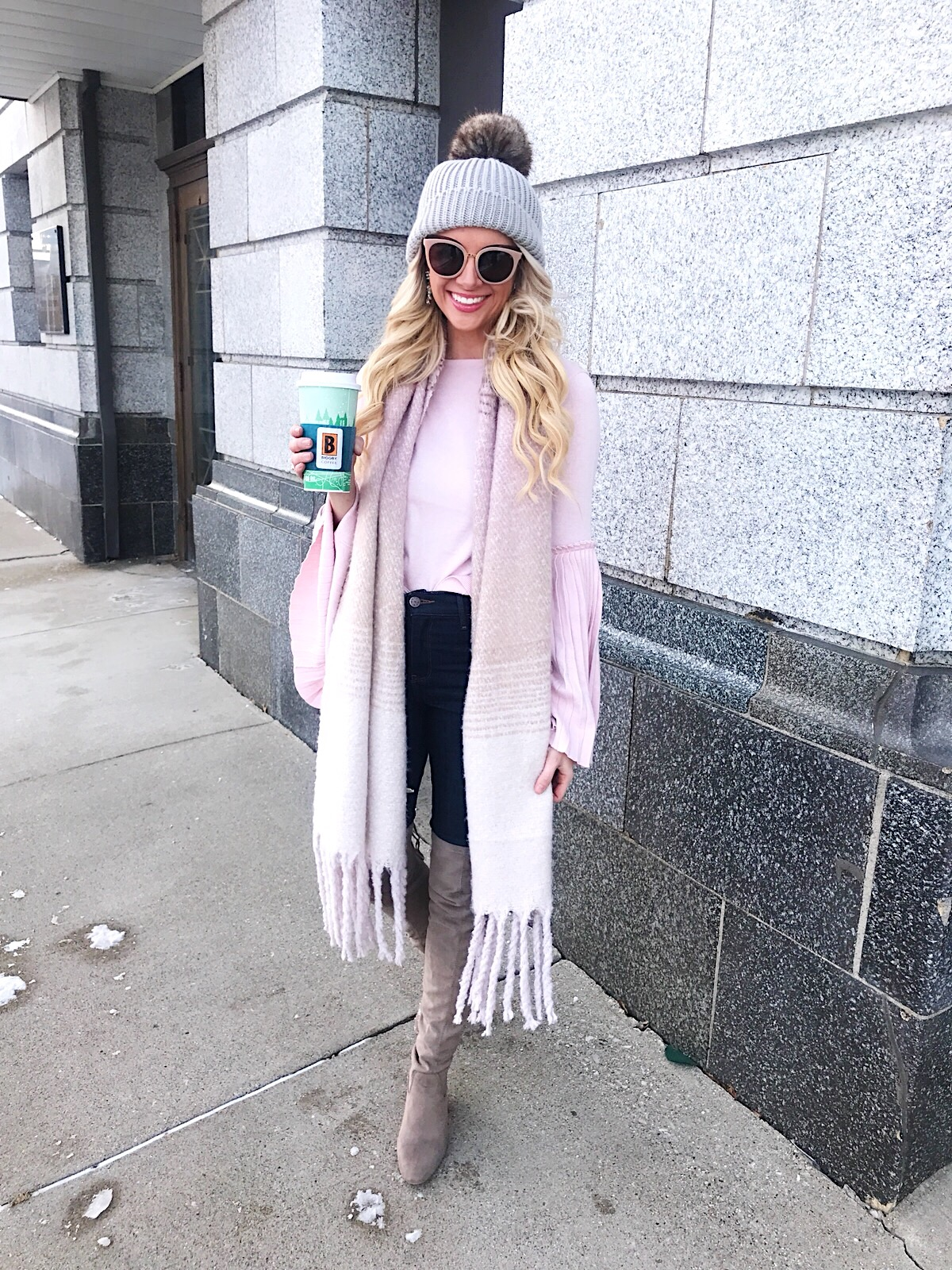 Pink Bell Sleeve Knit